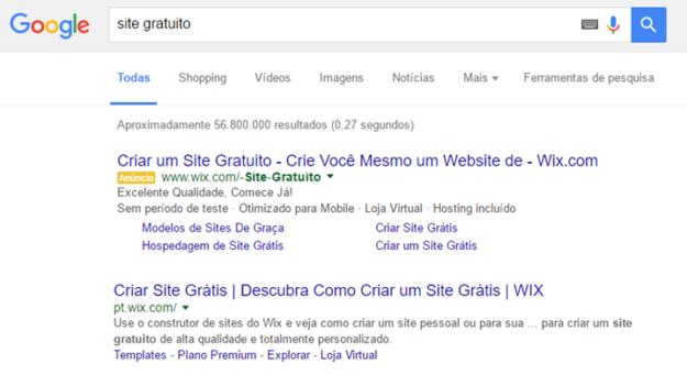 Figura 1. Busca pelo Termo Wix no Google
